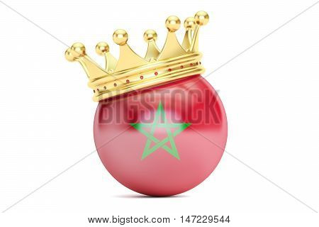Crown with flag of Kingdom of Morocco 3D rendering