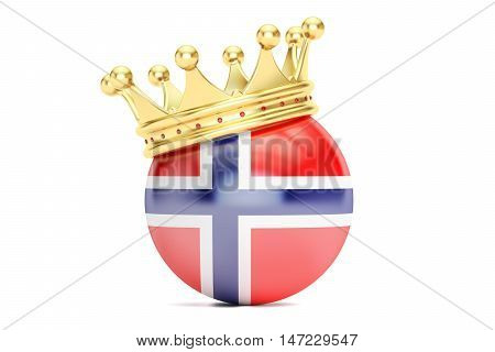 Crown with flag of Kingdom of Norway 3D rendering