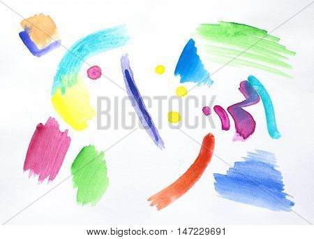 Abstract portrait with watercolor brush strokes on white background. Watercolour painting of smiling face. Colorful collage with bright color palette.