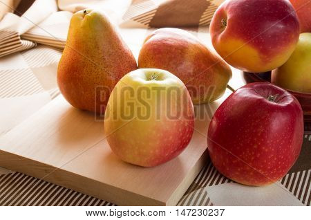 Autumn Harvest Of Apples And Pears
