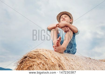 A boy sits on the stack of hay