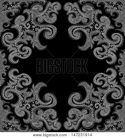 Black and white vector figured decorative frame