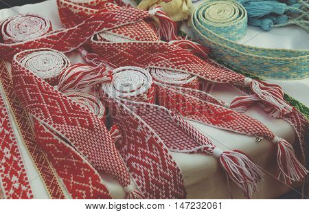 Bright red tape for crafts ethnic Slavic Belt for clothes