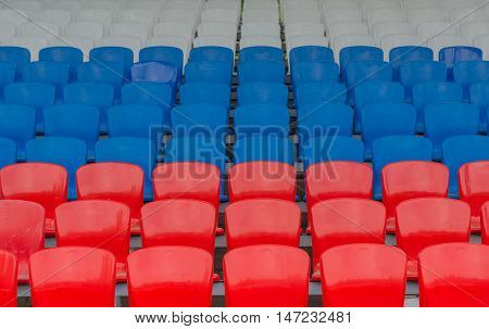 red blue white grandstand at the stadium