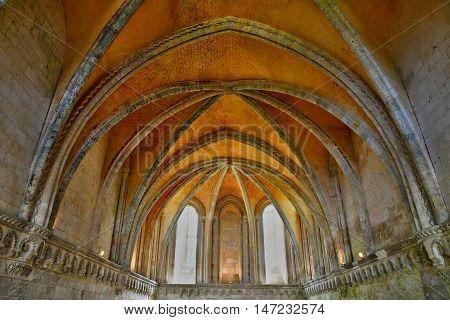 Saint Martin de Boscherville France - june 22 2016 : the chapterhouse of Saint Georges abbey in Seine Maritime