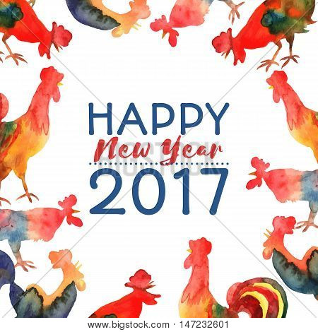 Vector frame with fire cocks and text Happy New Year 2017. Chinese calendar Zodiac for 2017 New Year of rooster. Editable isolated elements.