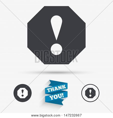 Attention sign icon. Exclamation mark. Hazard warning symbol. Flat icons. Buttons with icons. Thank you ribbon. Vector