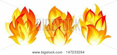 Three simple fire icon on white background