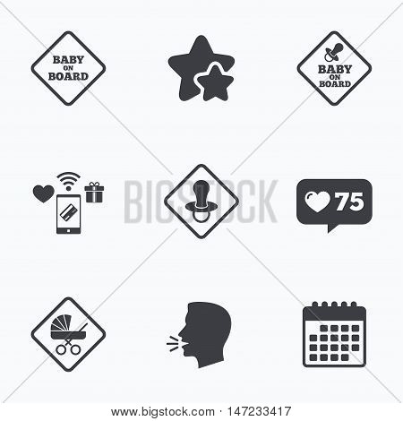 Baby on board icons. Infant caution signs. Child buggy carriage symbol. Flat talking head, calendar icons. Stars, like counter icons. Vector