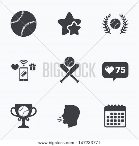 Baseball sport icons. Ball with glove and two crosswise bats signs. Winner award cup symbol. Flat talking head, calendar icons. Stars, like counter icons. Vector