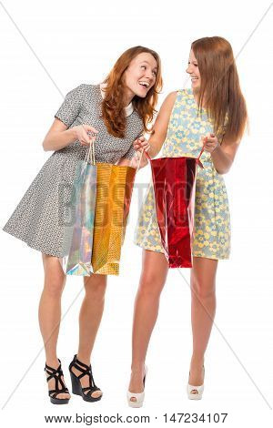 girlfriend show off their purchases on a white background