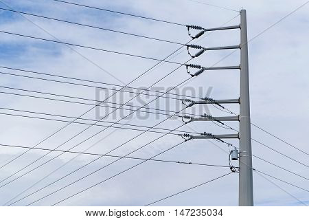 High Voltage Electric Pole with transformer and wires