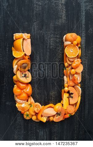 Fruit and vegetable alphabet letters concept for design layout and word spelling complete set