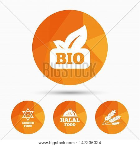 Natural Bio food icons. Halal and Kosher signs. Gluten free and star of David symbols. Triangular low poly buttons with shadow. Vector