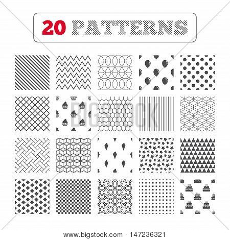 Ornament patterns, diagonal stripes and stars. Birthday party icons. Cake with ice cream signs. Air balloon symbol. Geometric textures. Vector