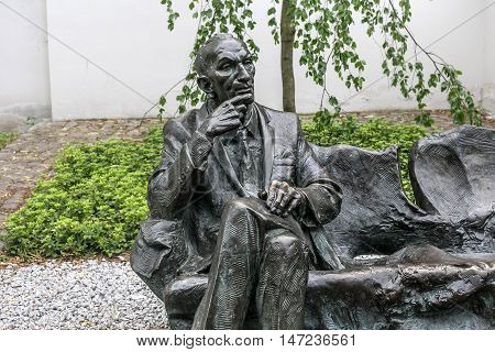 POLAND, KRAKOW - MAY 27, 2016: Statue of polish diplomat Jan Karski in the Kazimierz Jewish district of Krakow. Near to the Remuh Synagogue.