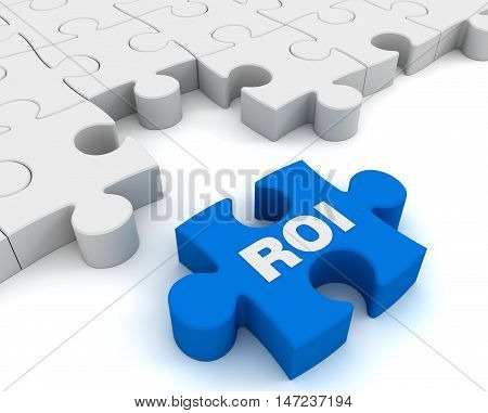 roi puzzle 3d illustration isolated on white background