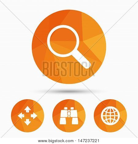 Magnifier glass and globe search icons. Fullscreen arrows and binocular search sign symbols. Triangular low poly buttons with shadow. Vector
