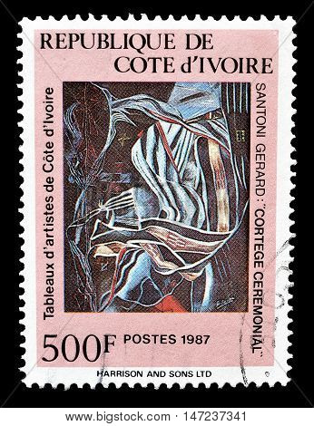 IVORY COAST - CIRCA 1988 : Cancelled postage stamp printed by Ivory Coast, that shows painting by Santoni Gerard.