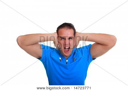 Handsome young casual man isolated over white background - screaming