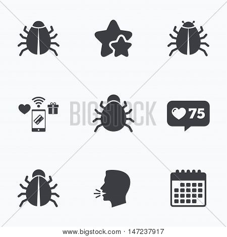 Bugs vaccination icons. Virus software error sign symbols. Flat talking head, calendar icons. Stars, like counter icons. Vector