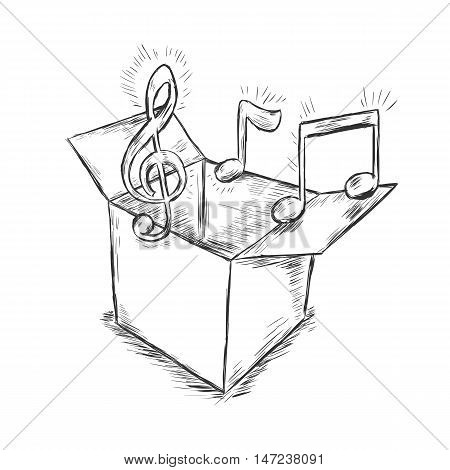 Vector Sketch Illustration - Box With Music