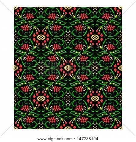 Seamless floral handicraft painting pattern at black background
