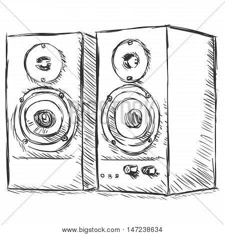 Vector Sketch Illustration - Loudspeakers