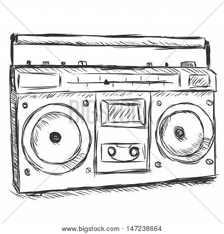 Vector Sketch Illustration - Tape Recorder