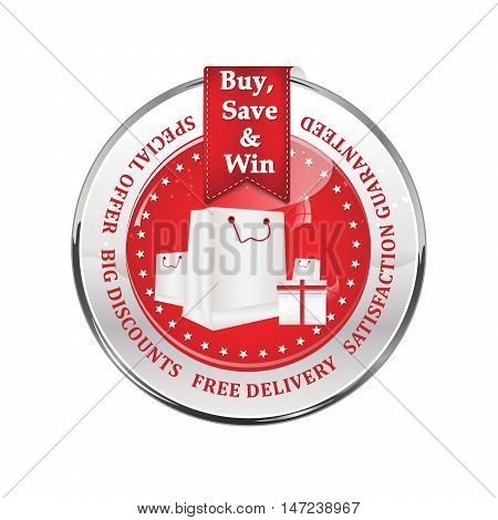 Sales winter holidays advertising icon - buy, save and win. Special offer, big discounts, free delivery, satisfaction guaranteed. Contains shopping bags and gifts.