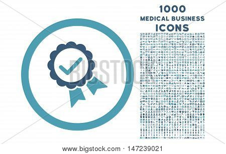 Approved rounded vector bicolor icon with 1000 medical business icons. Set style is flat pictograms, cyan and blue colors, white background.
