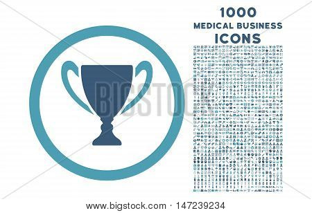 Award Cup rounded vector bicolor icon with 1000 medical business icons. Set style is flat pictograms, cyan and blue colors, white background.