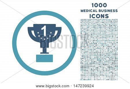 First Prize Cup rounded vector bicolor icon with 1000 medical business icons. Set style is flat pictograms, cyan and blue colors, white background.