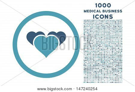 Heart Favourites rounded vector bicolor icon with 1000 medical business icons. Set style is flat pictograms, cyan and blue colors, white background.