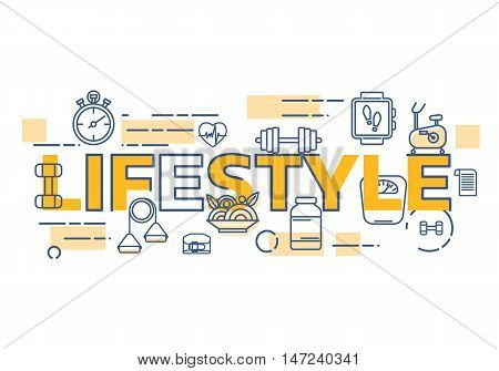 Healthy lifestyle banner concept. Thin line flat design banners for lifestyle word. Modern vector illustration concept easy to use and highly customizable. Vector illustration.