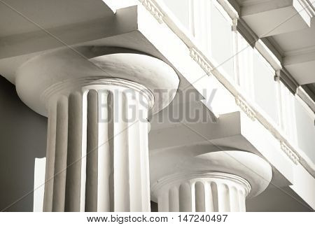 Columns of pavilion on Yelagin Island in St. Petersburg Russia.