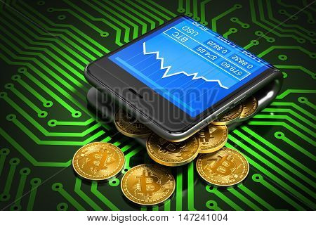 Concept Of Digital Wallet And Bitcoins On Green Printed Circuit Board. Bitcoins Spill Out Of The Curved Smartphone. 3D Illustration.