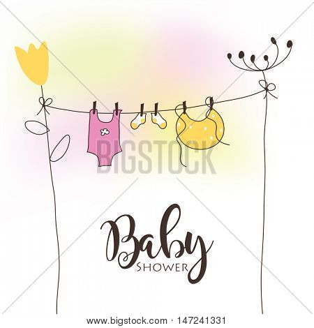 Baby shower card - template - freehand drawing