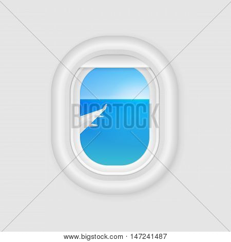 View From Airplane Window. Travel Design Template. Aircraft Porthole. Plane Illuminator. Vector