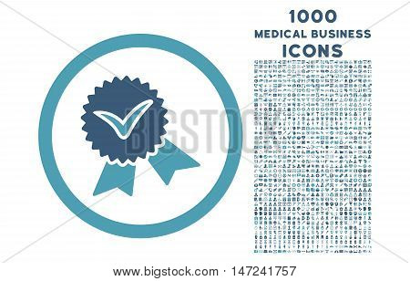 Validation Seal rounded vector bicolor icon with 1000 medical business icons. Set style is flat pictograms, cyan and blue colors, white background.