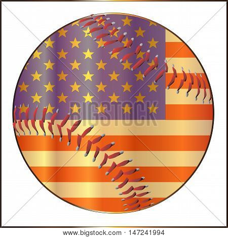 A stars and stripes baseball with red stitching