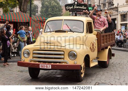 BELGIUM, BRUSSELS - SEPTEMBER 06, 2014: Belgian Beer Weekend 2014. Parade of beer manufacturers.