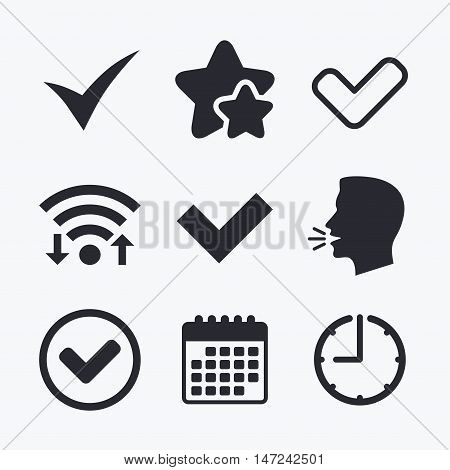 Check icons. Checkbox confirm circle sign symbols. Wifi internet, favorite stars, calendar and clock. Talking head. Vector