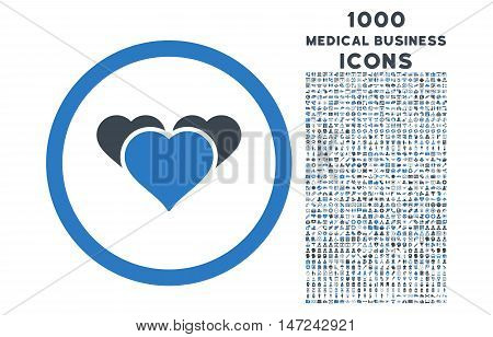 Heart Favourites rounded vector bicolor icon with 1000 medical business icons. Set style is flat pictograms, smooth blue colors, white background.