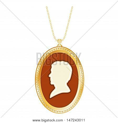Gold Cameo Locket on a Chain of a Vintage Gentleman.  Engraved oval keepsake, antique silhouette, isolated on white background.