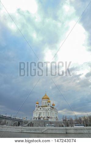 Christ the Savior Cathedral in Moscow and beautiful sky