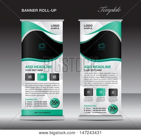 Green roll up banner stand template, stand design,banner design, pull up,  flyer template, advertisement, polygon background, display layout