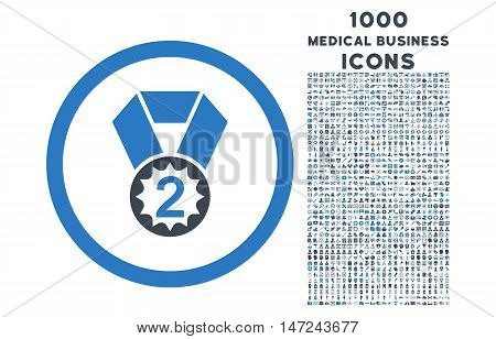 Second Place rounded vector bicolor icon with 1000 medical business icons. Set style is flat pictograms, smooth blue colors, white background.
