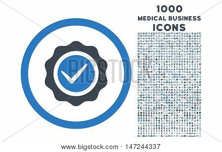 Valid rounded vector bicolor icon with 1000 medical business icons. Set style is flat pictograms, smooth blue colors, white background.