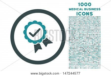 Approved rounded vector bicolor icon with 1000 medical business icons. Set style is flat pictograms, soft blue colors, white background.